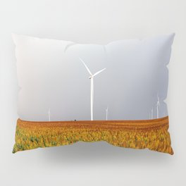 Maizy Day - Colorful Maize and Wind Turbines on Stormy Day in Kansas Pillow Sham