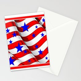 RED PATRIOTIC JULY 4TH BLUE STARS AMERICANA ART Stationery Cards