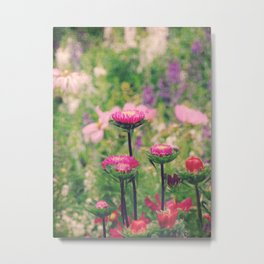 Summer Mood - pretty pink purple flowers in field paint edit Metal Print