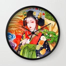 Watercolor Japanese Beauty - Oiran Wall Clock