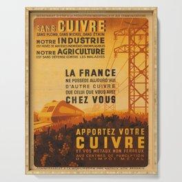 vintage placard apportez votre cuivre et vos metaux Serving Tray