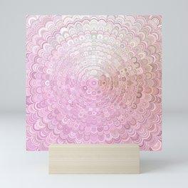 Pink and White Flower Mandala Mini Art Print