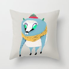 Bear with Hat Throw Pillow