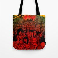 rave Tote Bags featuring Jungle Rave by Von Grey