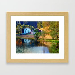A summer evening along the river II | waterscape photography Framed Art Print