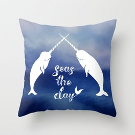 Narwhal Seas the Day Throw Pillow