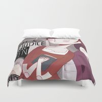 pride and prejudice Duvet Covers featuring Pride and Prejudice by Nan Lawson