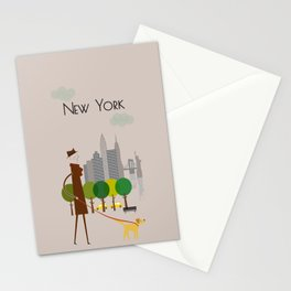 New York - In the City - Retro Travel Poster Design Stationery Cards
