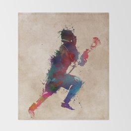 Lacrosse player art 1 Throw Blanket