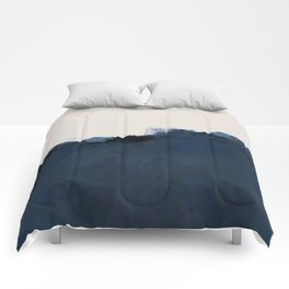 Abstract, blue, beige, indigo Comforters