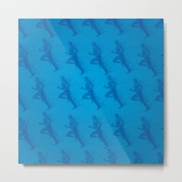 Watercolor running man silhouette background in blue color pattern Metal Print