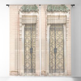 European Architecture - French Door - Colonial French Filigree Doorway Wrought Iron White Cream Peach Pink Black Cottage Classy Quaint Decor Sheer Curtain