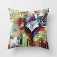 "flora bowley Throw Pillows featuring ""Spirit Works"" Original Painting by Flora Bowley by Flora Bowley"