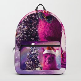 Crazy Funny Christmas Rainbow Llama In Space Backpack