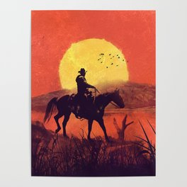 Red dead cowboy sunset  Poster
