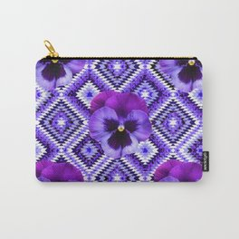 AFGHAN STYLE  PURPLE SPRING PANSIES  PATTERN ART Carry-All Pouch