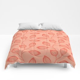 Climbing Leaves In Two Tone Living Coral Comforters