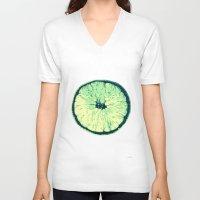 lemon V-neck T-shirts featuring Lemon by zabalza