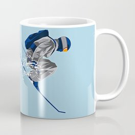 Airborn Skier Flying Down the Ski Slopes Coffee Mug