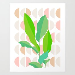 Sunny Banana leaves on Mid Century Modern pattern Art Print