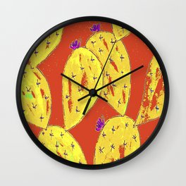 Orange cacti garden Wall Clock
