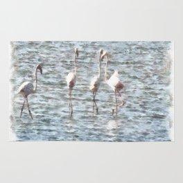 A Flamboyant Pat Of Flamingos Rug