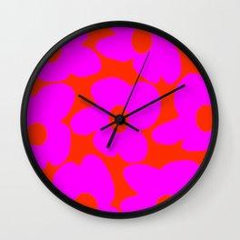Pink Retro Flowers Orange Red Background #decor #society6 #buyart Wall Clock