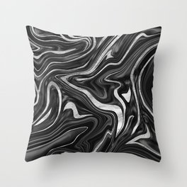 Black Gray White Silver Marble #1 #decor #art #society6 Throw Pillow