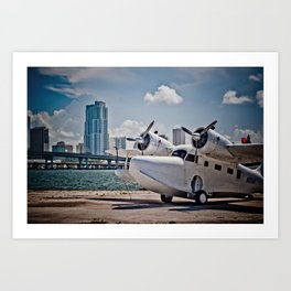 Downtown Miami Seaplane Art Print