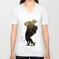 hercules V-neck T-shirts featuring Hercules and The Nemean Lion by taiche