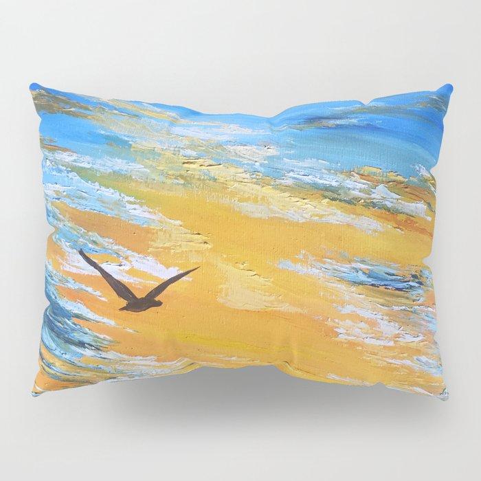 ocean sunset, original oil painting landscape, blue wall art, beach decor Pillow Sham