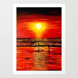 The red sunset  that leave us enchanted Art Print