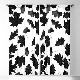 Falling Autumn Leaves in Black and White Blackout Curtain