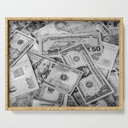 Black&white money patten Serving Tray