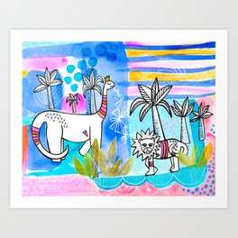 Unlikely Friends Painting - Lion Dinosaur Palm Trees Art Print