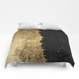 Faux Gold and Black Starry Night Brushstrokes Comforters
