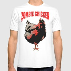 All Fear The Zombie Chicken! White Mens Fitted Tee 2X-LARGE