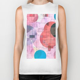 geometric square and circle pattern abstract in red pink blue Biker Tank