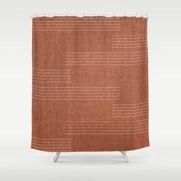 Minimal, Pattern, Boho Prints, Terracotta Shower Curtain