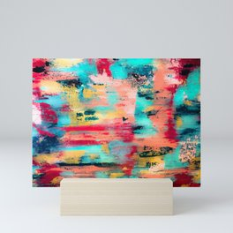 Ocean Reef: a colorful abstract piece in pinks, reds and turquoise by KKingCreations Mini Art Print