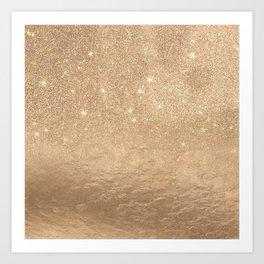 Glamorous Gold Sparkly Glitter Foil Ombre Gradient Art Print