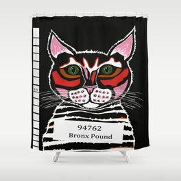 Cat Mug Shot Shower Curtain