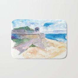 Ajaccio Corsica France - Beach and Fortress Bath Mat