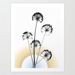 black and white flower wallpaper and the sun, flower decor, printable art Art Print