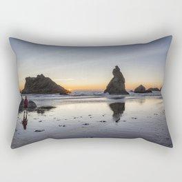 Children Playing at Sunset on Bandon Beach Rectangular Pillow