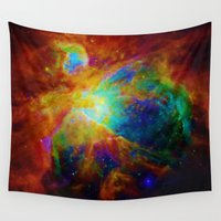 nebula Wall Tapestries featuring Orion NEBula  : Colorful Galaxy by 2sweet4words Designs