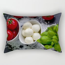 Trio of tomatoes basil fresh mozzarella Rectangular Pillow