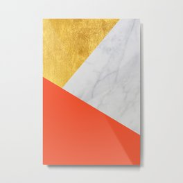 Carrara Marble with Gold and Pantone Flame Color Metal Print