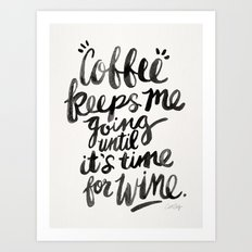 Coffee & Wine – Black Ink Art Print