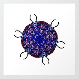 Blue Cell Mandala Art Print